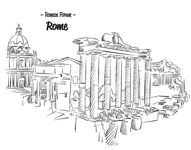 Rome Roman Forum Sketch Famous Landmark Stock Vector