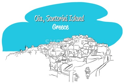 Oia, Santorini Island Greece Sketch Stock Vector