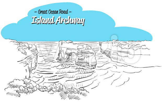Archway Island Great Ocean Road Australia, Sketch Stock Vector