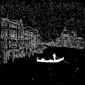 Venezia by Night Grand Canal Sketch Stock Vector