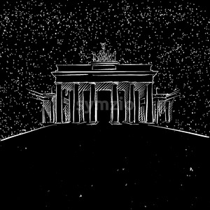 Berlin by Night Brandenburger Gate Sketch Stock Vector