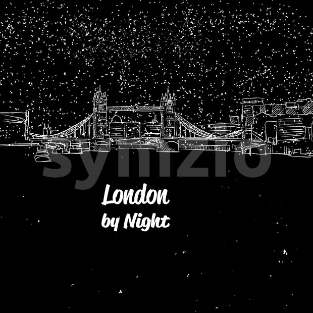 London by Night Skyline Panorama Sketch Stock Vector