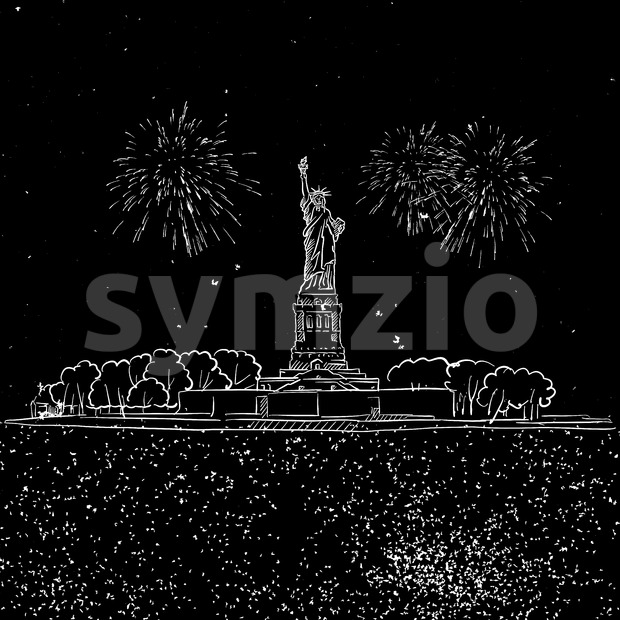 Lady Liberty by Night with Firework Sketch Stock Vector