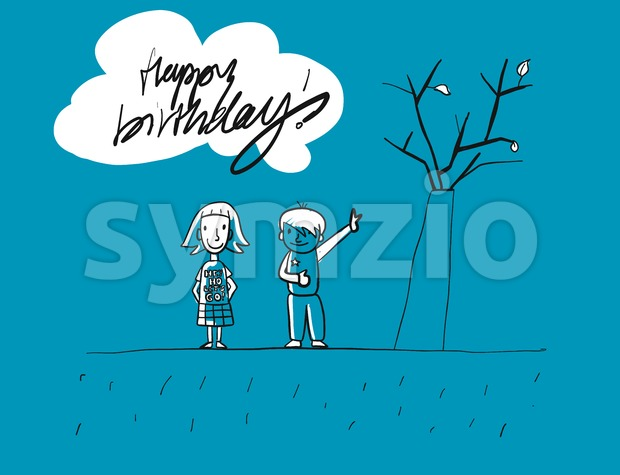 Happy birthday Grunge Kids Greeting Card, Hand-drawn Vector Sketches, Blue Colored Artwork