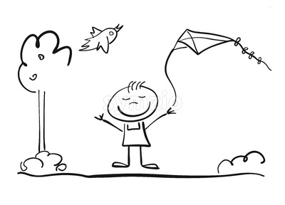 Happy doodle Child plays with Kite Stock Vector