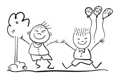 Two Happy Kids with Ballon, Friendship Symbol Sketch Stock Vector