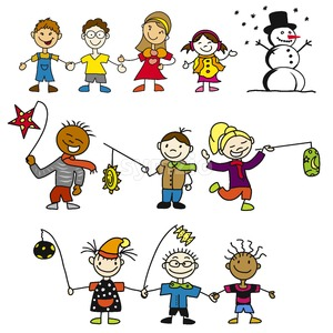 Doodle Kindergarten Kids with Latern, Mother and Snowman Stock Vector