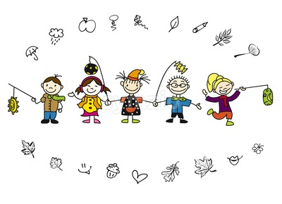 Doodle Autumn Kids with Latern and Leaves Stock Vector