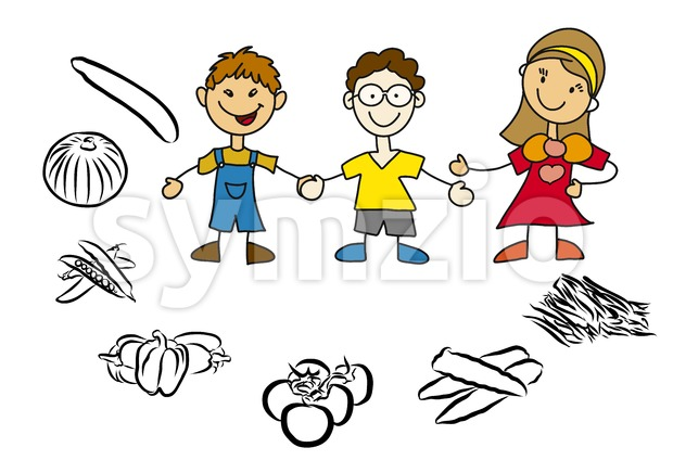 Doodle Mother and Kids with Healthy Food Stock Vector