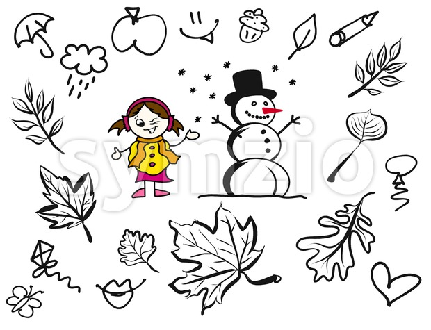 Little Comic Girl and Snowman with various sketched Leaves Stock Vector