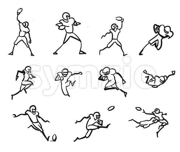 American Football Player Motion Sketch Studies Stock Vector