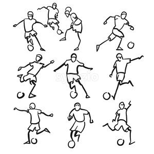 Football or Soccer Player Motion Sketch Studies Stock Vector
