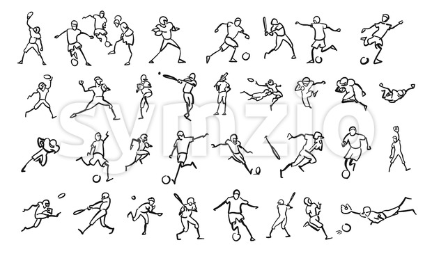 Various Ball Game Motion Sketch Studies Set Stock Vector