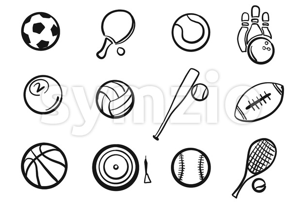 Various Balls Sports Equipment Sketched Set, hand-drawn vector Outline Artwork