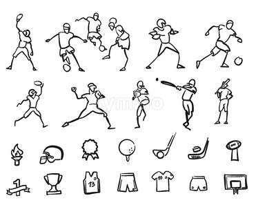 Football, Soccer and Baseballplayer Sketched Motion Doodle Set Stock Vector