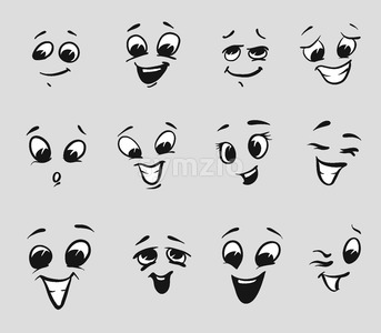 Twelf Happy Cartoon Expressions Faces Stock Vector