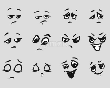 Twelf Angry Cartoon Expressions Faces Stock Vector