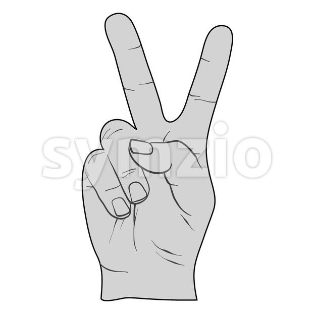 Peace Sign Victory Fingers Outline Drawing Stock Vector