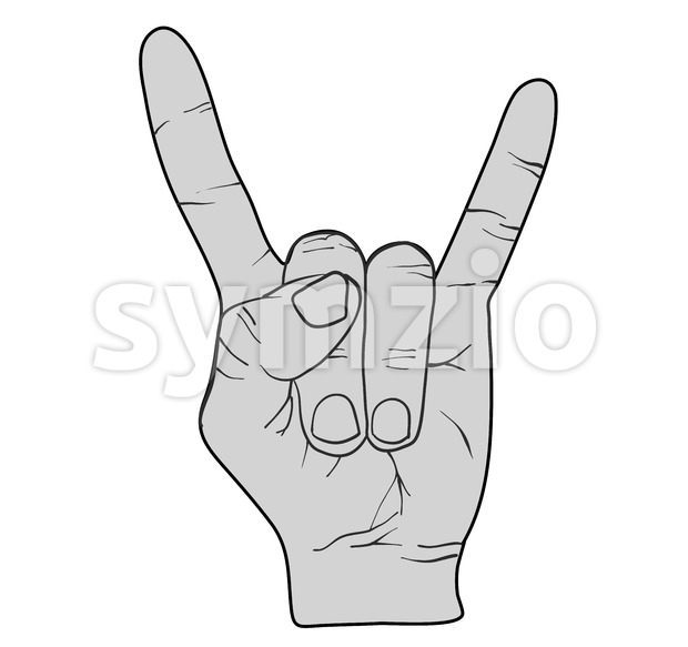 Rock Hand Devil Horn Stock Vector