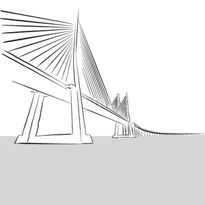 Vector hand-drawn Oresund Bridge, Sweden Stock Vector