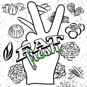 Eat Fresh Lettering on Peace Hand Sign Stock Vector