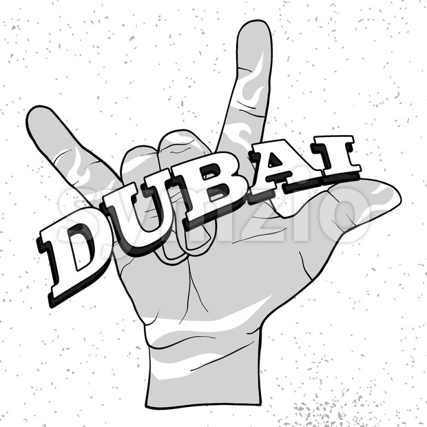 Dubai Lettering on Rock Hand Devil Horn Stock Vector