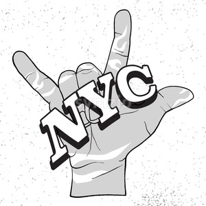 NYC on Rock Hand Devil Horn Stock Vector