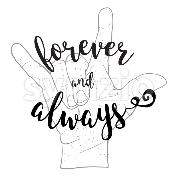 Forever and Always Quote with Devil Hand Symbol Stock Vector