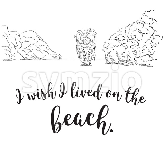 I Wish I Lived on the Beach Stock Vector