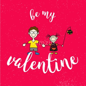 Be my Valantine Quote with two Comic Kids on Red Vintage Background Stock Vector