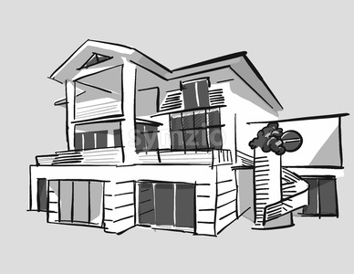 Grayscale drawing dream house Stock Vector