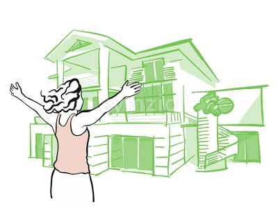 Woman is pulling arms upwards in front of dream house Stock Vector