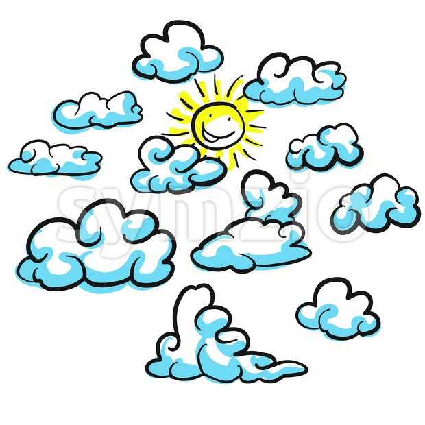Various cloud shapes vector sketches with sun, hand drawn vector outline drawing black pen on white ground