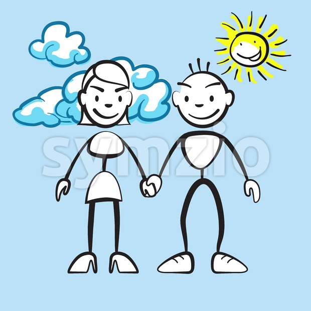 Couple smiling with clouds and sun Stock Vector