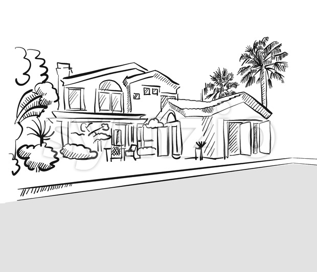 Sketch dream house among palm trees Stock Vector
