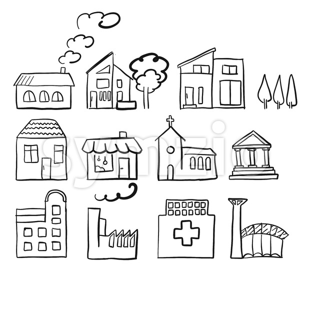 Various house types, fast vector sketch Stock Vector