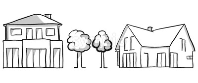 Family house and villa vector sketch Stock Vector