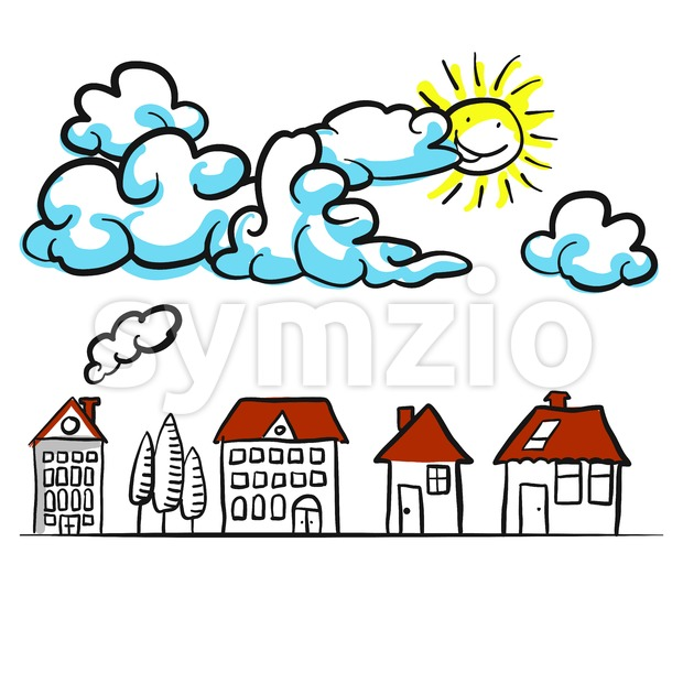 Building sketches 2D with clouds Comic background Stock Vector