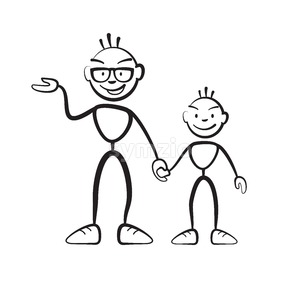 Man and boy explain situation Stock Vector