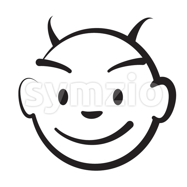 Stick figure Devil's head Stock Vector