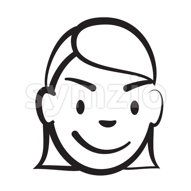 Stick figure girl head Stock Vector