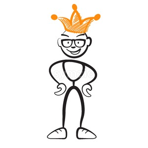 Stick figure king with glasses Stock Vector