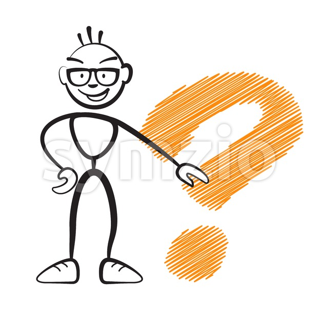 Stickmen with questionmark sign Stock Vector