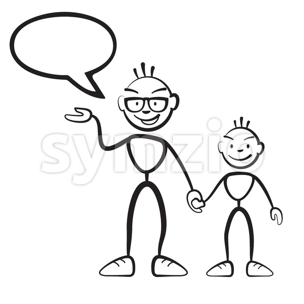 Daddy with son and speech bubble Stock Vector