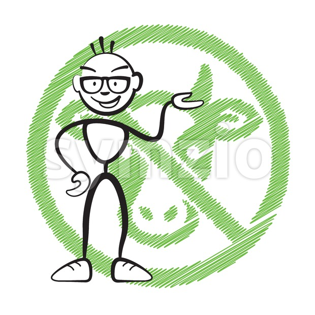 Stick figure no meat symbol, Stickman vector drawing on white background