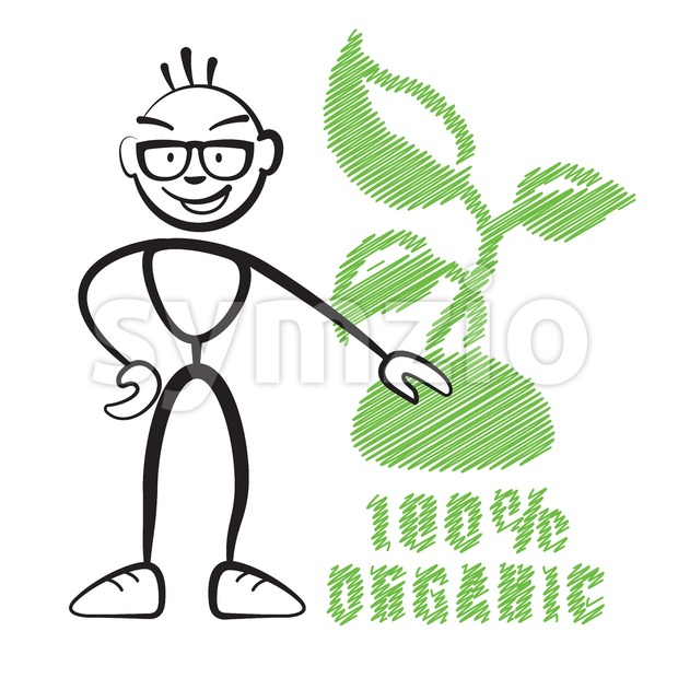 Stick figure with symbol 100% Organic Stock Vector