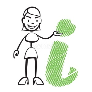 Stick figure woman with info sign Stock Vector