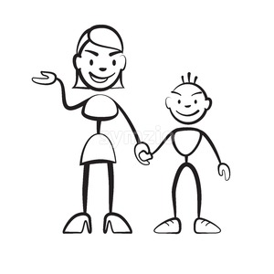 Stick figure mother with son greeting Stock Vector