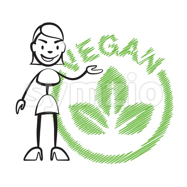 Stick figure woman vegan Stock Vector