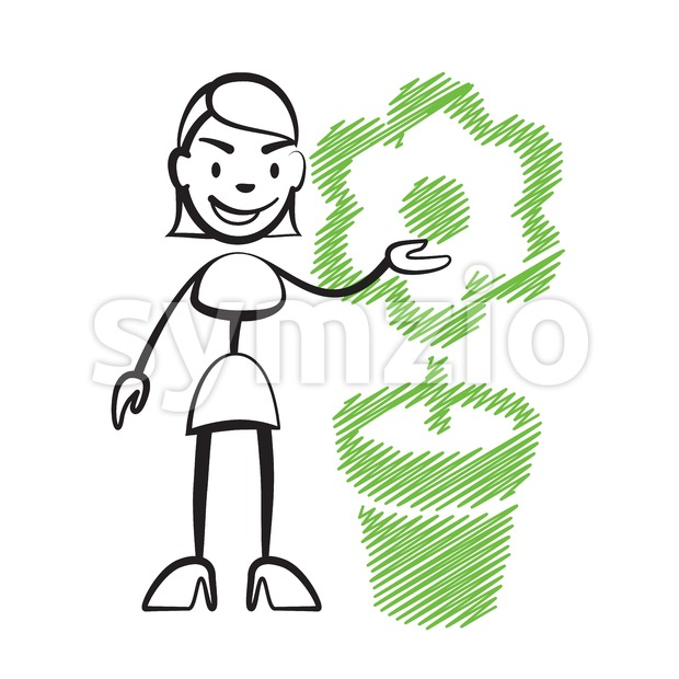 Stick figure woman with flower, Stickman vector drawing on white background